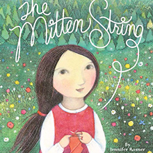 Book cover art for The Mitten String. A smiling young girl, Ruthie, holds a red mitten with a loose string.