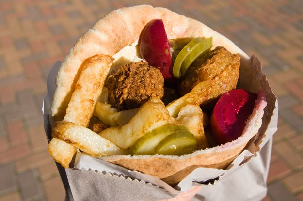 Close up of delicious falafel and pita