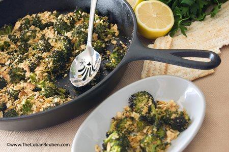 Passover Recipe Roasted Broccoli Florets With Lemon Garlic Matzah Crumbs Pj Library
