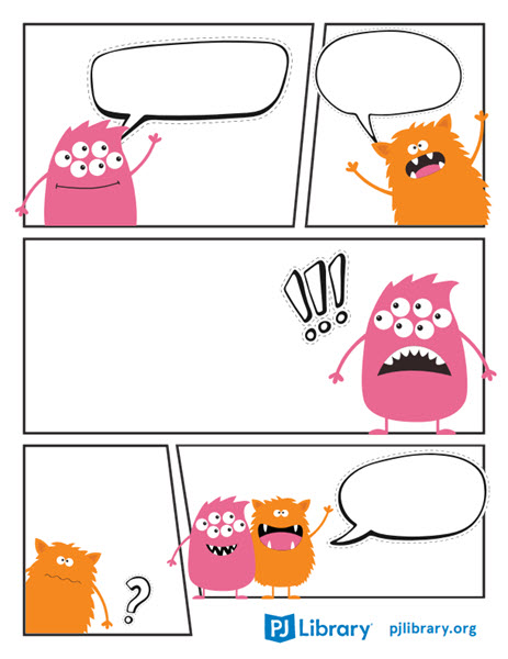 a blank comic strip featuring adorable monsters