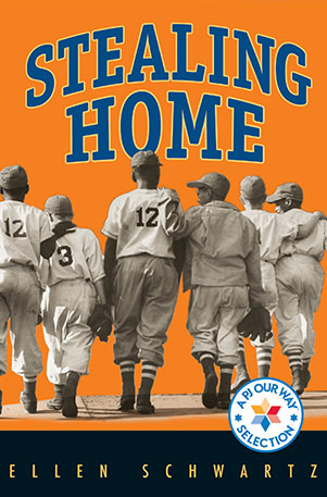 Book cover art for Stealing Home. A boys team of baseball players walks with arms around each other's shoulders.