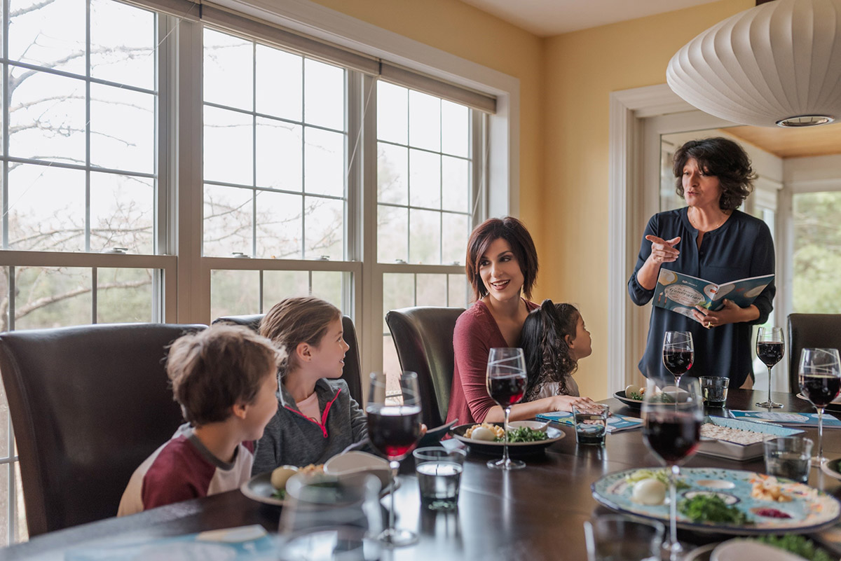 Family at seder table