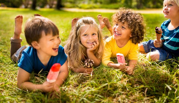 Friends enjoying ice cream and popsicles
