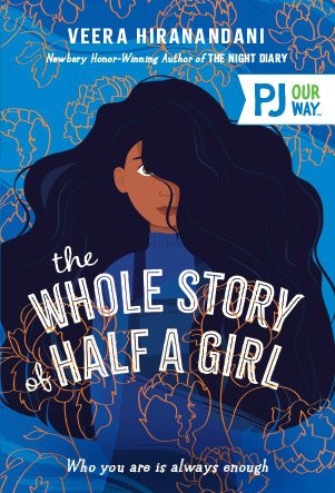 Book cover art for The Whole Story of Half a Girl. The main character, Sonia, is depicted with her hair partially covering her face.