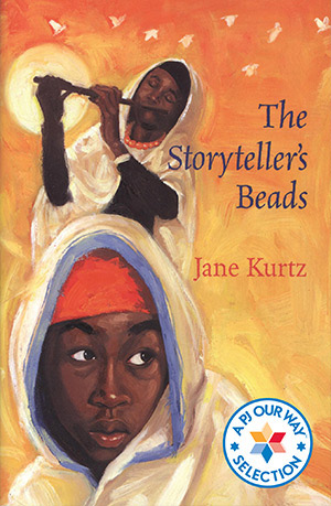 Book cover art for The Storyteller's Beads. The stories two main characters are featured, one plays a flute in the background while the other looks forward.