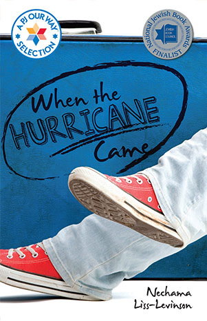Book cover art for When the Hurricane Came. The legs and sneakers of a youth can be seen in front of luggage.