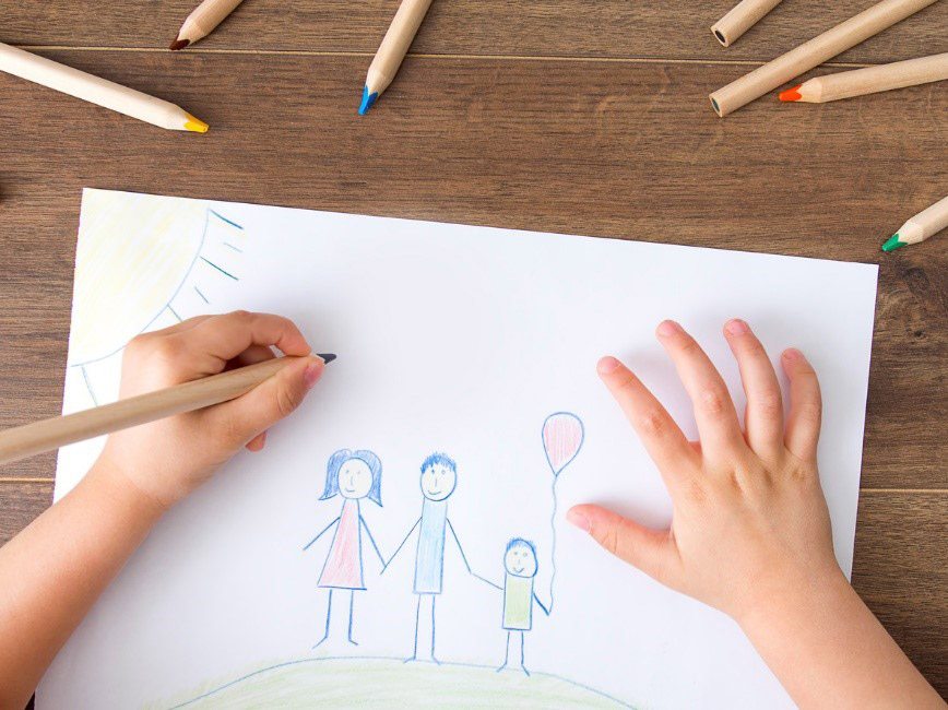 childrens drawing of family